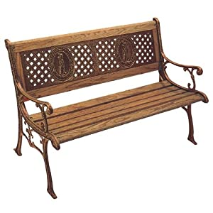 DC America SL670CO-BR-MP Kingsport Park Bench, Cast Iron Frame and Hardwood Slats, Rust Resistant Bronze Finish