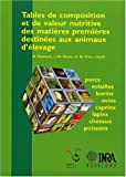 Tables de composition et de valeur nutritive des matires premires destines aux animaux d'levage. Porcs, volailles, bovins, ovins, caprins, lapins, chevaux, poissons