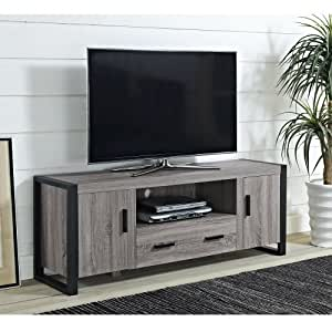 "WE Furniture 60"" Ash Grey Wood TV Stand with Storage"