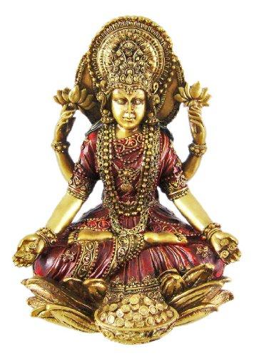 Metallic Gold Laxmi Hindu Goddess Of Wealth Statue