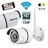 ORIGIN 監視カメラ ワイヤレスカメラ IP66防水 720P 100万画素 COMSセンサー IR-CUT 暗視機能 P2P 動体検知