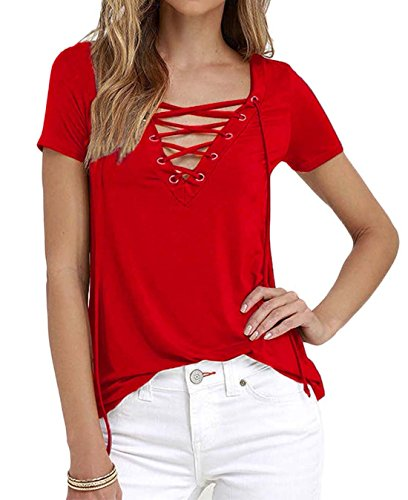 DREAGAL Women's Eyelet Lace Up Short Sleeve Top Red XXX-Large (Plus Size Red Shirt compare prices)