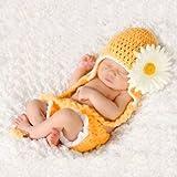 Topicker Cute Baby Infant Sunflower Costume Crochet Knit Photo Prop 0-12 Mon