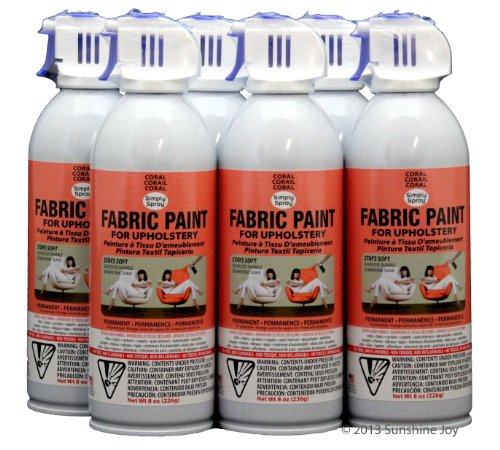 simply spray upholstery fabric spray paint 8 oz can 6 pack coral. Black Bedroom Furniture Sets. Home Design Ideas