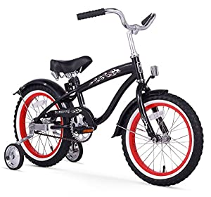 Firmstrong Bruiser Boy's Single Speed Bicycle w/ Training Wheels, 16-Inch, Black w/ Red Rims