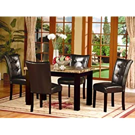 5 Pc Dark Artificial Marble Top Dinette Dinning Set , Dining table 4 Chairs