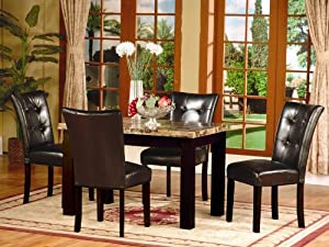 Roundhill Furniture 5-Piece Dark Artificial Marble Top Dinette Dining Set, Includes Table with 4 Chairs