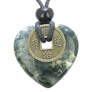 Antique Lucky Coin Good Luck Powers Amulet Green Moss Agate Gemstone 30mm Heart Donut Pendant Necklace