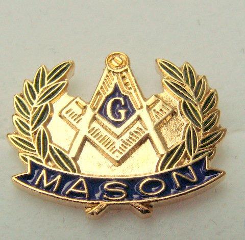 FREEMASON MASONIC MASON 3D 18K GOLD OVERLAY LAPEL, TIE OR HAT PIN