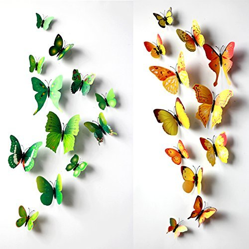 Green 24Pcs 3D Butterfly Wall Stickers Decor Art Decorations 3 Size front-248976