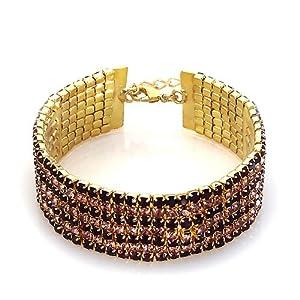 Pugster Golden Black Wave Swarovski Elements Crystal Adjustable Lobster Clasp Bracelet For Women