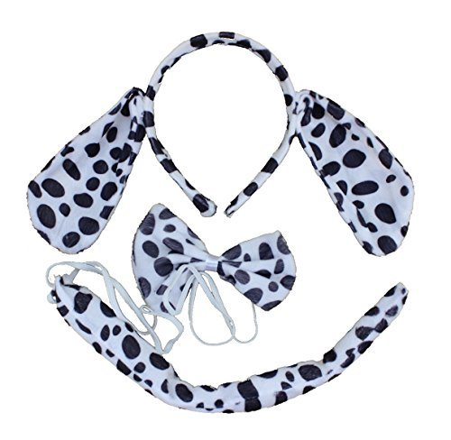 Cute Dalmatians Animal Ear Headband Christmas Party Costume Cartoon 3pc Set