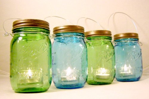 Four Blue And Green Glass Mason Jar Lanterns Heritage Collection Candle Holder