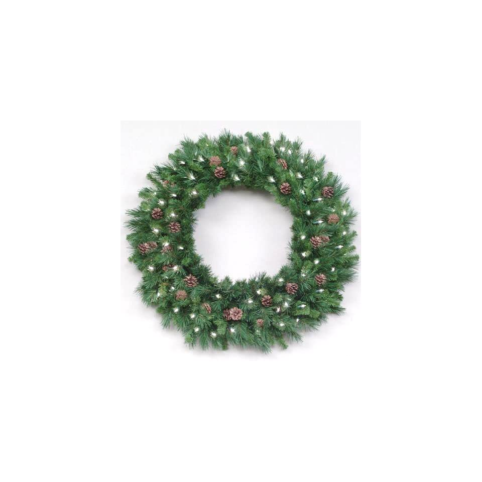 12 Pre Lit Cheyenne with Pine Cones Commercial Christmas Wreath   Clear Lights
