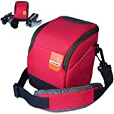 First2savvv high quality anti-shock red Nylon camcorder case bag for Toshiba CAMILEO X400 Toshiba CAMILEO X200 Toshiba CAMILEO X150 Toshiba CAMILEO Z100 + card reader