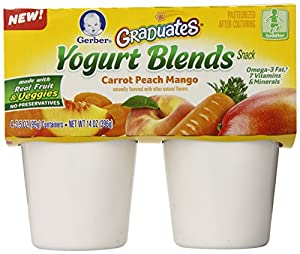Gerber Graduates Yogurt Blends Snack, Carrot Peach Mango, 4 Count (Pack of 6)