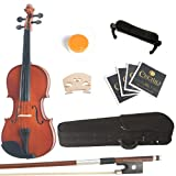 Mendini 3/4 MV200 Solid Wood Violin in Natural Finish with Hard Case, Shoulder Rest, Bow, Rosin and Extra Strings