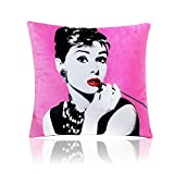 MARY ST 18x18 Inch Velvet Decorative Throw Pillow Cover Cushion Case, Audrey Hepburn Pink