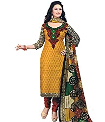 Fashionx Yellow cotton printed unstitched dress material