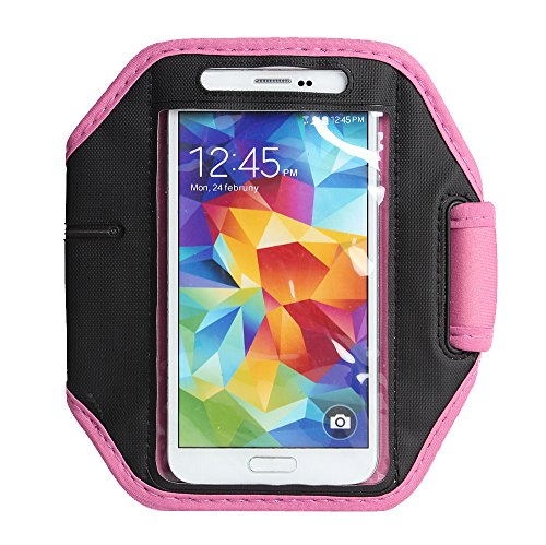 Boriyuan New Adjustable Waterproof Gym Jogging Running Sport Armband Protective Case With Key Earphone Holder Slot For Samsung Galaxy S5 Gs 5 V I9600 G900A G900P G900V G900T (Pink)