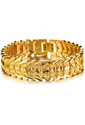 Opk Jewelry Fashion 18k Yellow Gold Plated Men's Link Bracelet Carving Wristband,17mm ,8.2 Inch