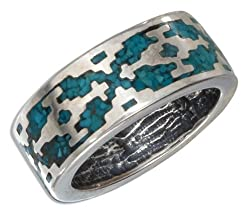 Sterling Silver Turquoise Aztec Unisex Band (size 05)