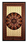 Brown and Red Paisley Mandala Indian Tapestry  Hanging Wall