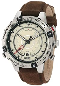 Timex #T2N721 Men's Intelligent Quartz Brown Leather Strap Tide, Temperature, and Compass Watch