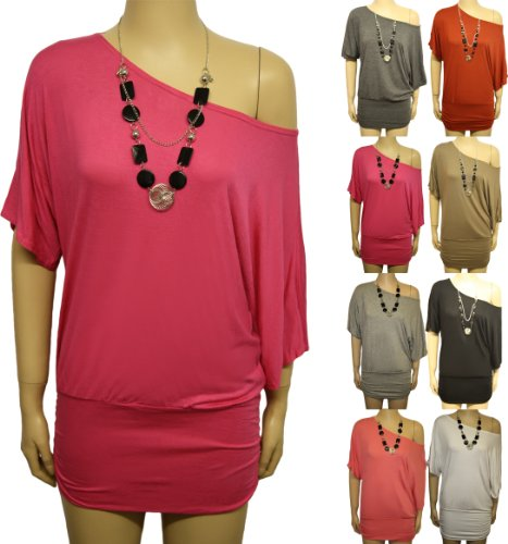 New Ladies Off Shoulder Batwing Stretch Necklace