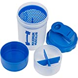 Protein Shaker Bottle By Maximum Muscular, Cup with Extra Storage Compartment for Powders & Pills, Massive 20oz Capacity, Blue