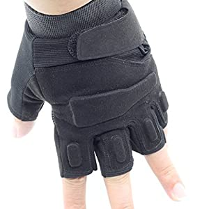 OMGAI Military Special Ops Half Finger Light Assault Gloves Tactical fingerless half finger gloves Airsoft Hunting Riding Cycling Gloves Outdoor Sports Fingerless Army Shooting Gloves (Black) by OMGAI