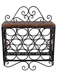Craft Art India Wooden / Wrought Iron Wall Mounting Hanging Wine Bottle Rack