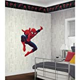 York Wallcoverings ZB3268 Spiderman City Wallpaper, Cool White/Soft Gray/Deep Soot Gray