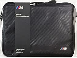 BMW M Edition Macbook Air & Pro Bag (BMW and official licensed product 13-inch notebook PC-only carbon-bag bag case [the PU Leather Computer Sleeve Carbon Effect Black Stripe, shoulder bag) For GIFT