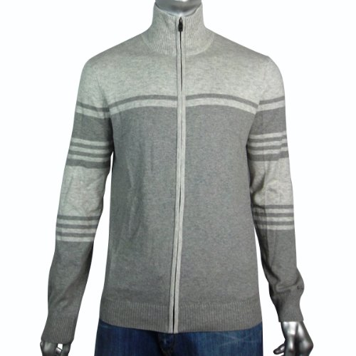 Mens Ben Sherman Full Zip Cardigan Jumper Mod Wool Sweater Warm Grey Size XL