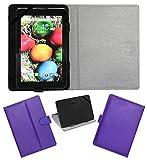 Acm Leather Flip Flap Carry Case For Sansui St71 Tablet Holder Stand Cover Purple