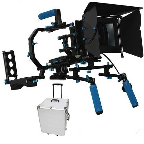 Shoulder Mount Follow Focus Matte Box Professional Support System Kit Rig DSLR w/ Hard Case