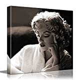 Eden Art - Framed Retro Black and Grey Design Elegant Reading Marilyn Monroe Pictures Photo Prints on Canvas Wall Decor Painting, High Giclee Living Room Walls Decor Decorations (12x12inches)
