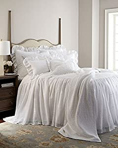 Amazon.com - Cecily King Skirted Bedspread, WHITE, Size