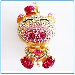 1x Crystal Rhinestone Cute Pig Keychain/Necklace/Purse Fashion Decoration