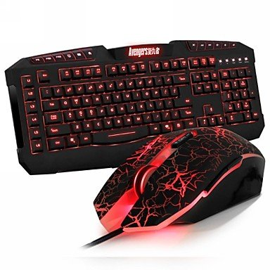 Mch-Dare-U 4 Led Colors Wrangler Gaming Mice And Avenger 7 Buttons Gaming Keyboard Usb Wired Combo Set