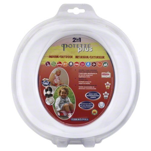 WHITE Potette Plus Port-A-Potty Training potty travel toilet Seat - 2 in 1