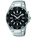 Seiko Men's Quartz Watch with Black Dial Analogue Display and Silver Stainless Steel Bracelet SKA433P1by Seiko