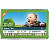 Seventh Generation Free & Clear, Unbleached Diapers, Size 1, 80 Count, Packaging May Vary