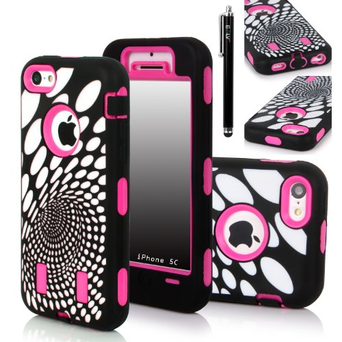 Iphone 5C Case, E Lv Iphone 5C Case - Heavy Duty Rugged Dual Layer Hybrid Armor Defender Case Cover For Iphone 5C With 1 Screen Protector, 1 Black Stylus And 1 Microfiber Sticker Digital Cleaner (Apple Iphone 5C) - Oval Circle Hot Pink