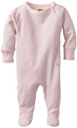 Kushies Unisexbaby Newborn Everyday Layette Sleeper, Pink Dots, 1 Month