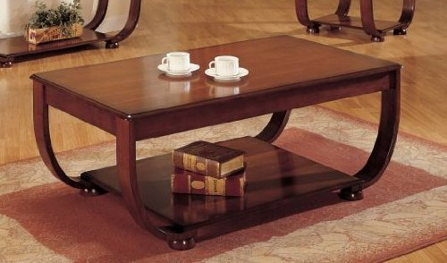 Coffee Table with Storage Shelf - Walnut Finish