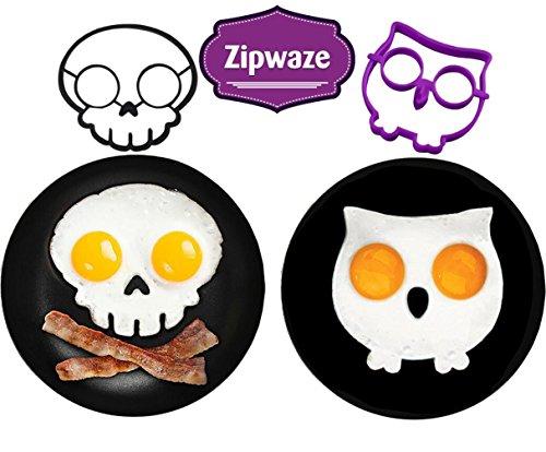 Egg Shaper Owl & Skull Set of 2 Nonstick Silicone Egg Ring Mold, Purple Owl Shaped Egg Ring, Black Skull Shaped Egg Ring Food Grade Silicone Fried Egg Pancake Molds (Egg Sunny Side Up compare prices)