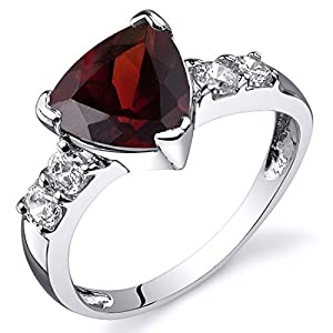 Revoni Solitaire Style 2.25 carats Garnet CZ Ring in Sterling Silver Size P, Available in Sizes J to R