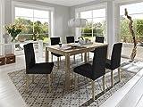 SAM-Tischgruppe-Balin-7tlg-Kernbuche-massiv-gelt-natrliche-Maserung-Holztisch-160-cm-Esszimmergruppe-sechs-Sthle-Billi-schwarz-Lederimitatbezug-buche-teilzerlegt-Lieferung-mit-Spedition